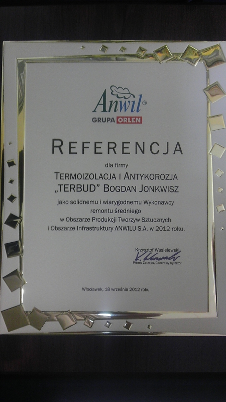 2012 - Anwil SA, List referencyjny- Remont 2012r